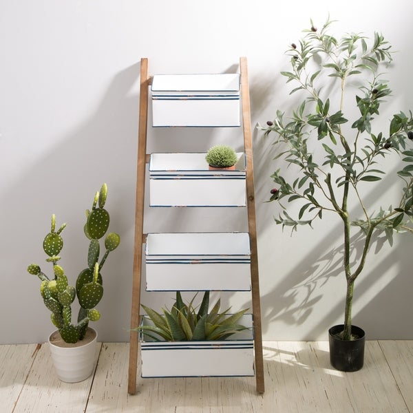 Glitzhome Farmhouse Metal Enamel Four-Tier Basket Shelves