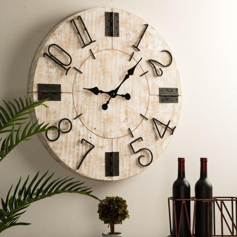 "Glitzhome 31.5""D Farmhouse Enamel Wall Clock"
