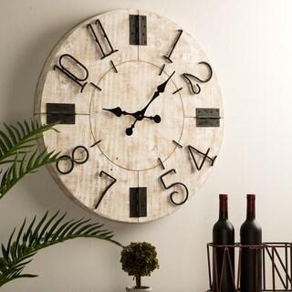 "Link to Glitzhome 31.5""D Farmhouse Enamel Wall Clock Similar Items in Decorative Accessories"
