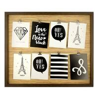 Bulk Buys Brown Wire Lines Wooden Photo Frame - 2 Pack