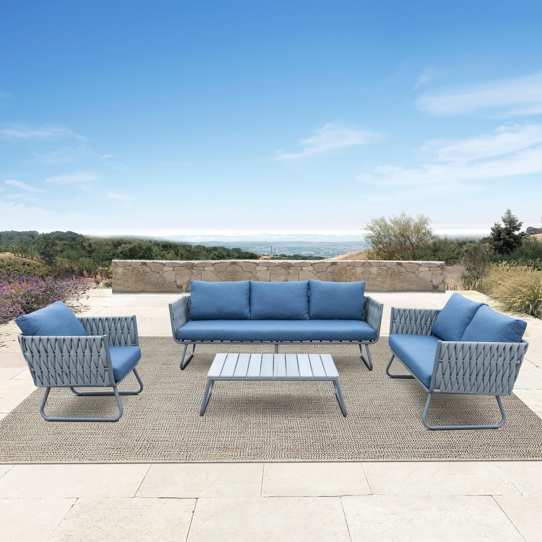 Details about Havenside Home Juneau 4-piece Outdoor Grey Wicker Sofa Set