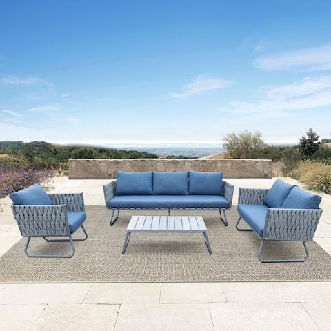 Juneau 4-piece Outdoor Grey Wicker Sofa Set by Havenside Home