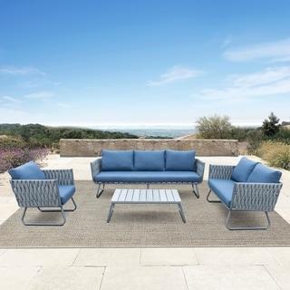 Havenside Home Juneau 4-piece Outdoor Grey Wicker Sofa Set