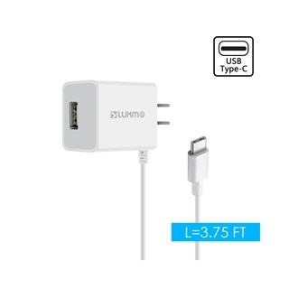Insten Universal 2.1A USB C Travel Wall AC Charger Built-in Cable for Nintendo Switch Samsung Galaxy S9 Plus S8 iPhone XS Max