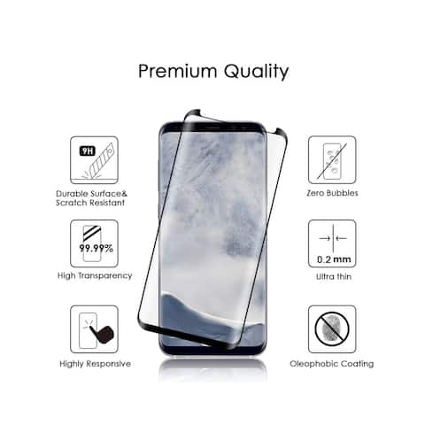 Insten 0.2mm 3D Curved Tempered Glass Screen Protector LCD Film Guard Shield for Samsung Galaxy S9, Black