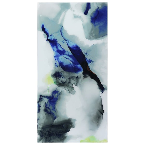 """Blue Splash""Frameless Free Floating Tempered Art Glass Wall Art by EAD Art Coop - Multi-color"