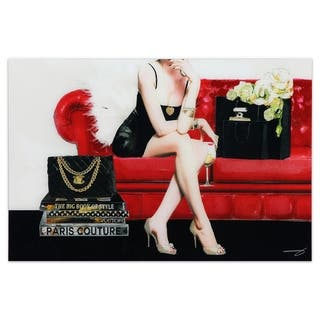 """The Lady"" Frameless Free Floating Tempered Glass Panel Graphic Wall Art - Black/Red/White"