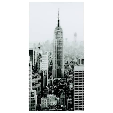 """""""Empire""""Frameless Free Floating Tempered Art Glass Wall Art by EAD Art Coop - Black/Grey"""