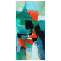 """Color Splash""Frameless Free Floating Tempered Art Glass Wall Art by EAD Art Coop - Blue/Green/Red"