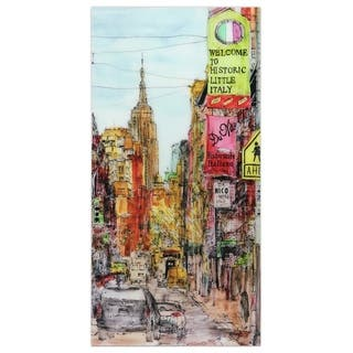 """""""Little Italy""""Frameless Free Floating Tempered Art Glass Wall Art by EAD Art Coop - Multi-color"""
