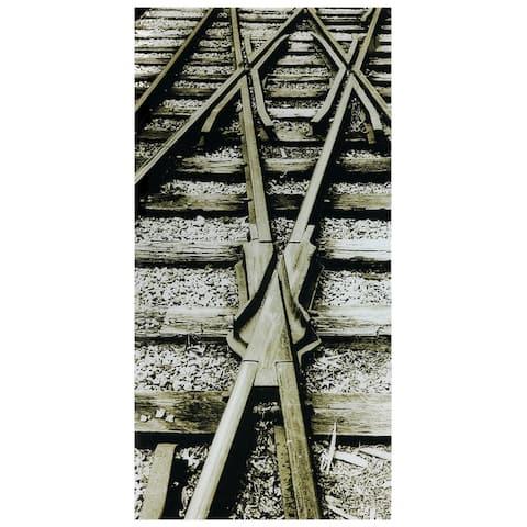 """Crossroads""Frameless Free Floating Tempered Art Glass Wall Art by EAD Art Coop - Grey/Black"