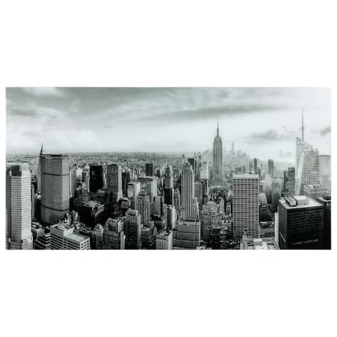 """""""My New York""""Frameless Free Floating Tempered Art Glass Wall Art by EAD Art Coop - Black/Grey"""
