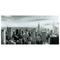 """My New York""Frameless Free Floating Tempered Art Glass Wall Art by EAD Art Coop - Black/Grey"