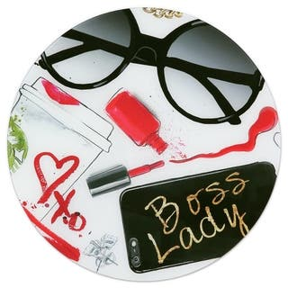 """Boss Lady"" Frameless Free Floating Tempered Glass Panel Graphic Wall Art - Black/Red/White"