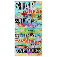 """Dream Big""Frameless Free Floating Tempered Art Glass Wall Art by EAD Art Coop - Multi-color"