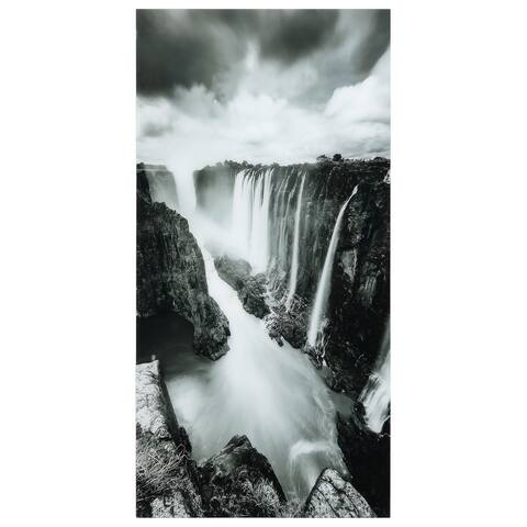 """The Falls""Frameless Free Floating Tempered Art Glass Wall Art by EAD Art Coop - Grey/Black"