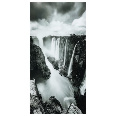 """""""The Falls""""Frameless Free Floating Tempered Art Glass Wall Art by EAD Art Coop - Grey/Black"""