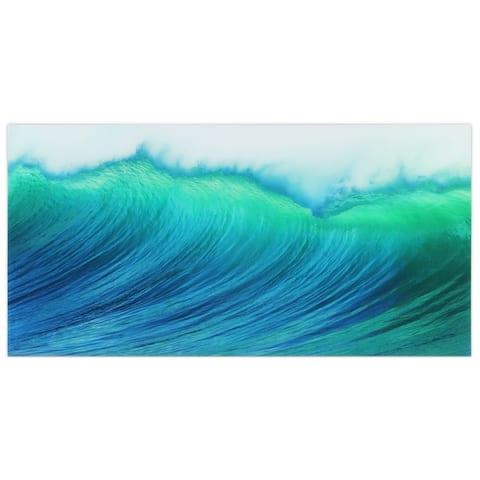 """Blue Wave"" Frameless Free Floating Tempered Art Glass Wall Art - Teal"