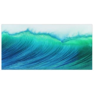 """""""Blue Wave""""Frameless Free Floating Tempered Art Glass Wall Art by EAD Art Coop - Teal"""