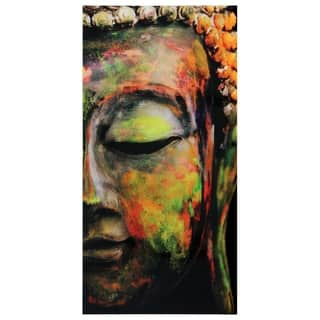 """""""Buddha""""Frameless Free Floating Tempered Art Glass Wall Art by EAD Art Coop - Brown"""
