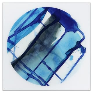 """Blue Stripes"" Frameless Free Floating Tempered Glass Panel Graphic Wall Art - Blue/White"