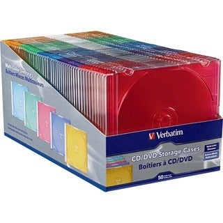 Verbatim CD/DVD Color Slim Jewel Cases, Assorted - 50pk - TAA Complia