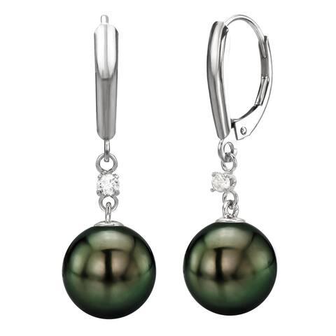 DaVonna 14k White Gold 1/10cttw diamond Black Tahitian Pearl Lever-back Earrings