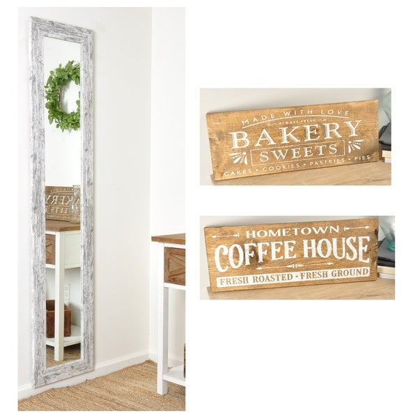 Set - 16in. x 71in. Floor Mirror with 2 Wooden Signs 24in. X 9in.