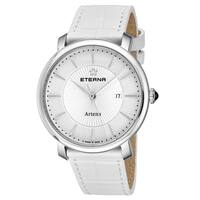 Eterna Women's 2510.41.11.1252 'Artena' White Dial White Leather Strap Quartz Swiss Made Watch