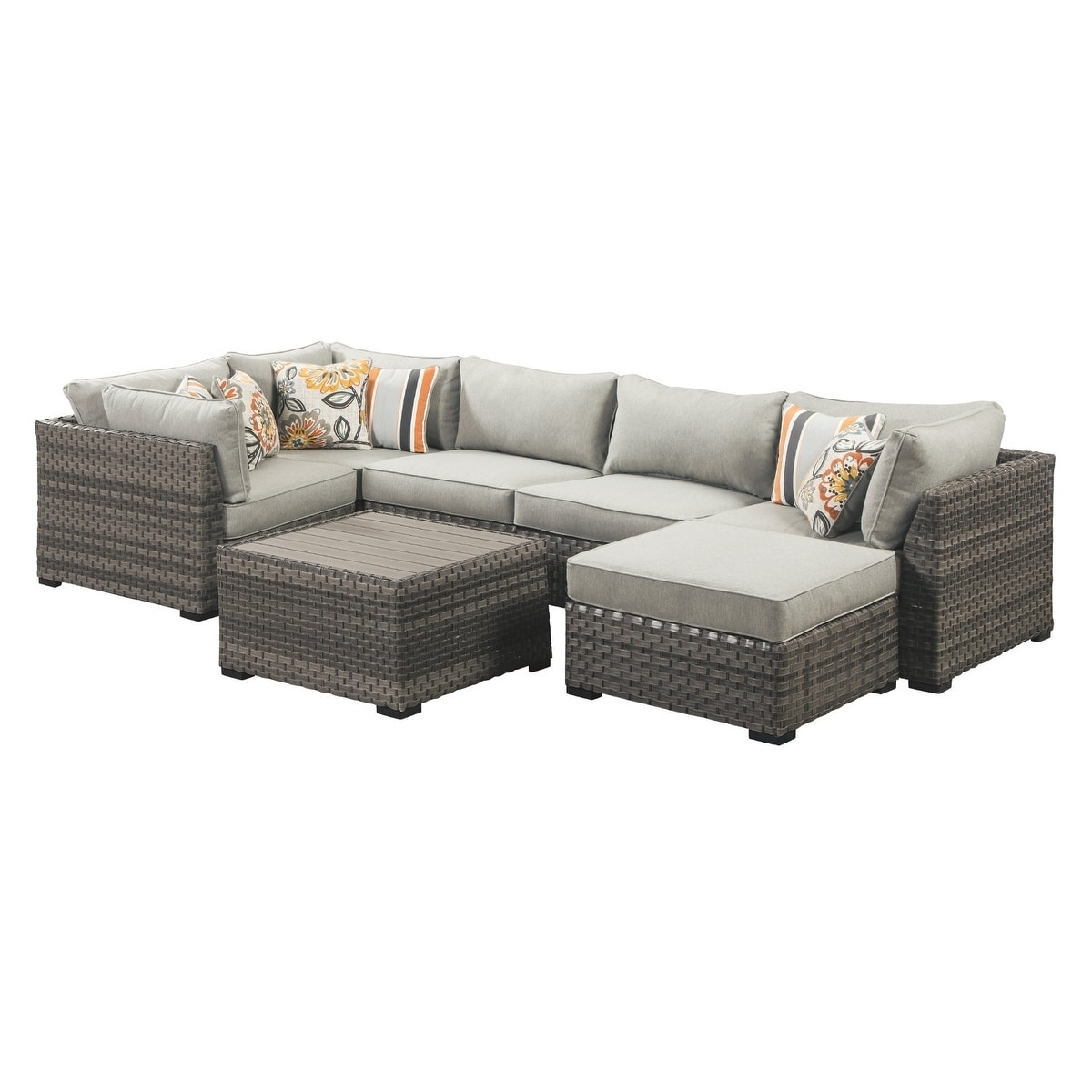 Amazing Spring Dew 7 Piece Sectional 3 Corner Chairs 2 Armless Chairs Cocktail Table Ottoman Grey Machost Co Dining Chair Design Ideas Machostcouk