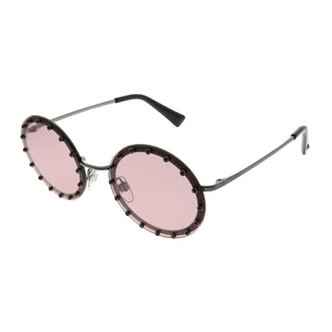 28d5eea5f1c0 Valentino Round VA 2010B 301284 Women Bordeaux with Black Crystals Frame  Light Violet Lens Sunglasses