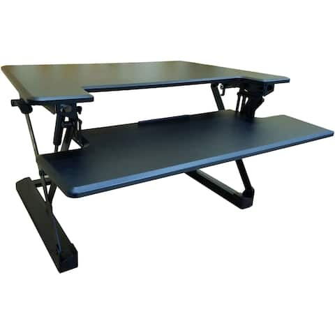 Hanover 35-In. Wide Black Tabletop Sit or Stand Lift Desk with Adjustable Height for Offices, Schools, and Writing Stations