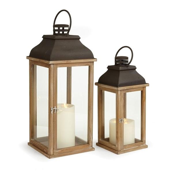 Carmel Lanterns Set of 2 Natural Wood