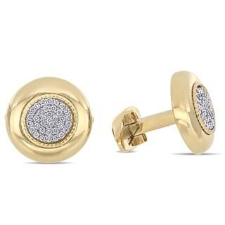Miadora 14k Yellow Gold 1/3ct TDW Diamond Circle Cluster Halo Cufflinks