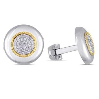 Miadora 14k 2-Tone White and Yellow Gold 1/3ct TDW Diamond Circle Cluster Halo Cufflinks
