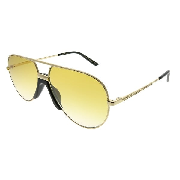 87b5e098aa94f Gucci Aviator GG 0432S 003 Unisex Gold Frame Yellow Gradient Lens Sunglasses