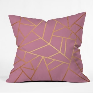Deny Designs Pink and Amber Geometric Indoor/Outdoor Reversible Throw Pillow (4 Sizes)