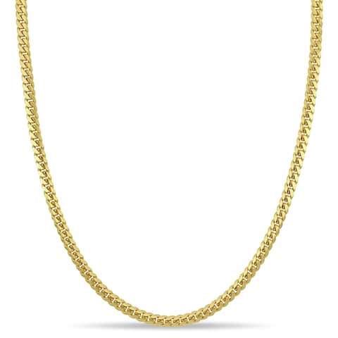 Miadora 10k Yellow Gold 22-Inch Men's Flat Curb Link Chain Necklace