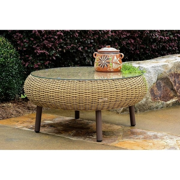 Tortuga Outdoor Round Indoor Wicker Coffee Table Free Shipping Today 26394776 Amber