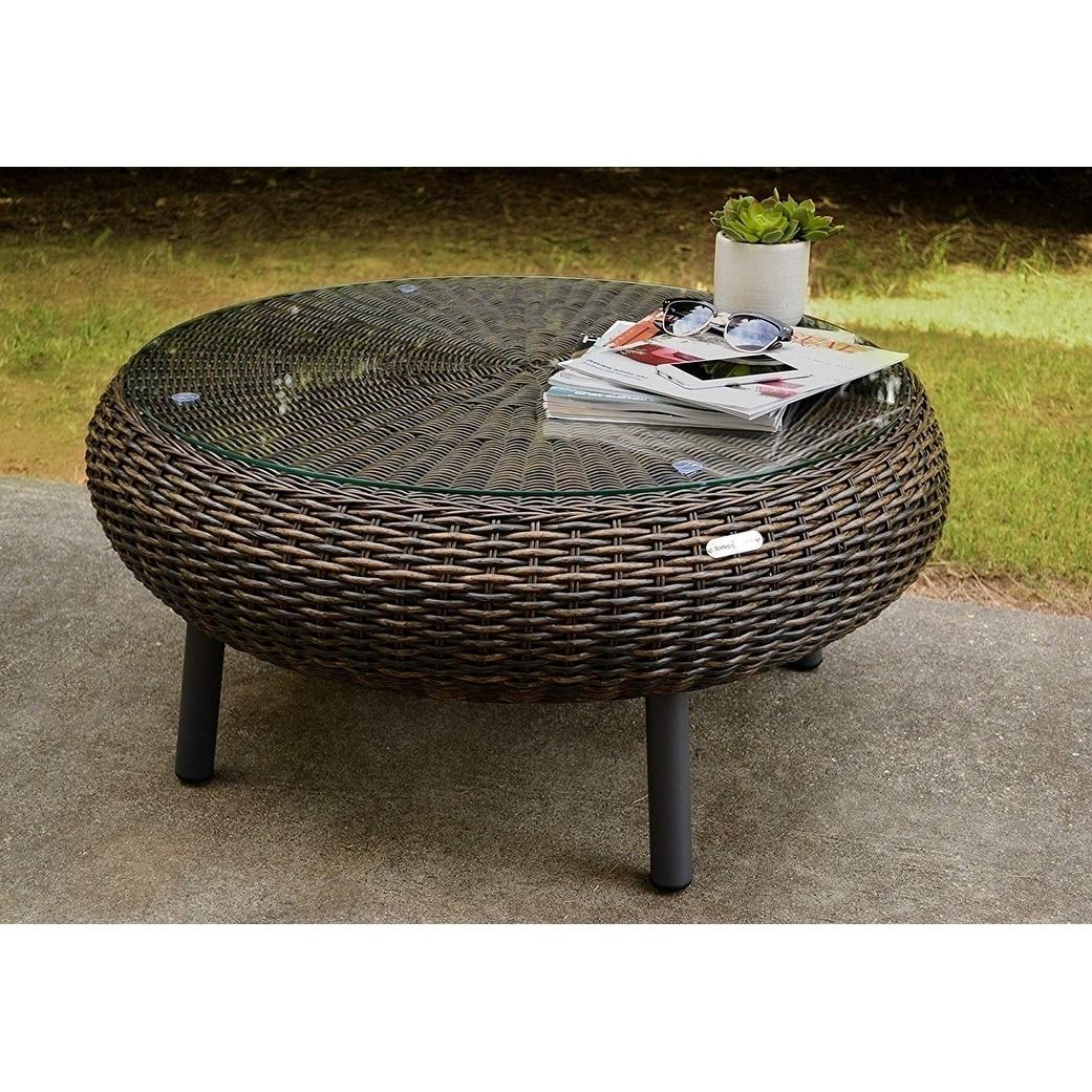 Shop Black Friday Deals On Tortuga Outdoor Round Indoor Outdoor Wicker Coffee Table Overstock 26394776