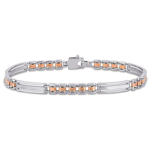 Miadora 18k 2-Tone White and Rose Gold Men's Station Link Bracelet