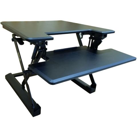 Hanover 27-In. Wide Black Tabletop Sit or Stand Lift Desk with Adjustable Height for Offices, Schools, and Writing Stations