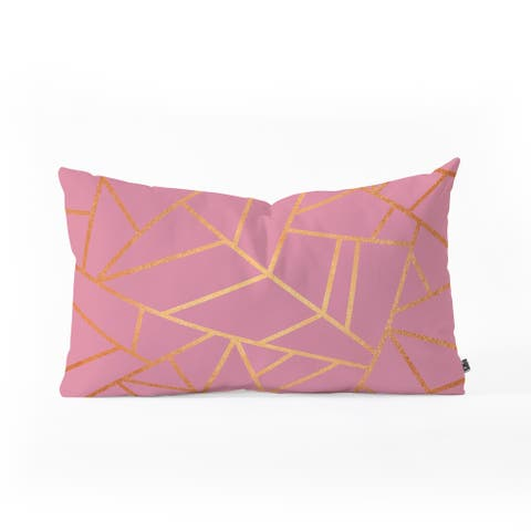 Deny Designs Pink and Amber Geometric Oblong Throw Pillow (2 Sizes)