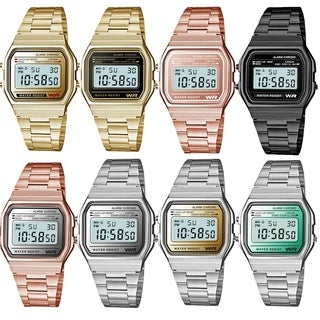 Sports Metal Band Watch With Gold Lcd Display Style 4669 - N/A