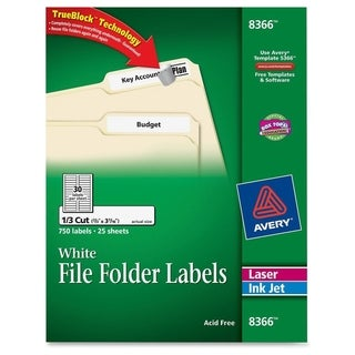 Avery Permanent File Folder Labels with TrueBlock Technology