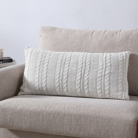 The Gray Barn Windy Oaks Cable Knit Rectangular Decorative Pillow