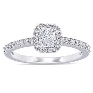 Miadora 14k White Gold 3/4ct TDW Cushion and Round-Cut Diamond Halo Engagement Ring