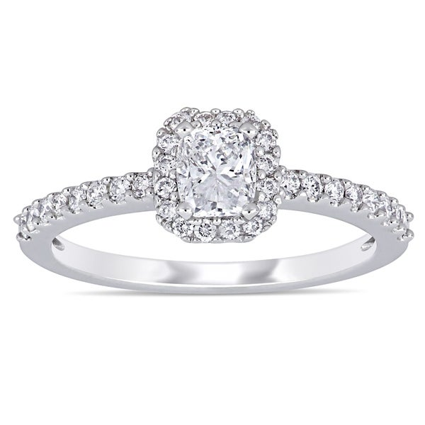 Miadora 14k White Gold 3/4ct TDW Cushion and Round-Cut Diamond Halo Engagement Ring. Opens flyout.