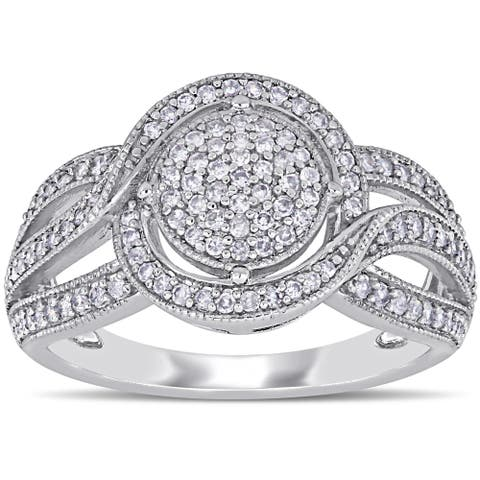 Miadora 10k White Gold 1/2ct TDW Diamond Cluster Crossover Engagement Ring
