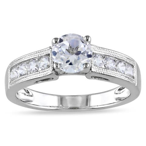 Miadora Sterling Silver Created White Sapphire Engagement Ring